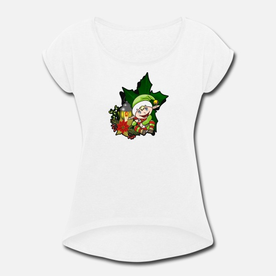 Christmas Carols T-Shirts - Christmas christmas X-Mas x-mas xmas Xmas XMas - Women's Rolled Sleeve T-Shirt white
