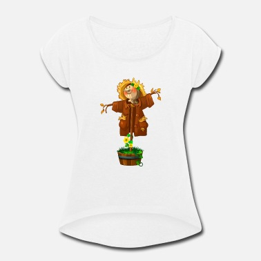 Bugaboo Fun cartoon scarecrow bugaboo vector cool image - Women's Roll Cuff T-Shirt