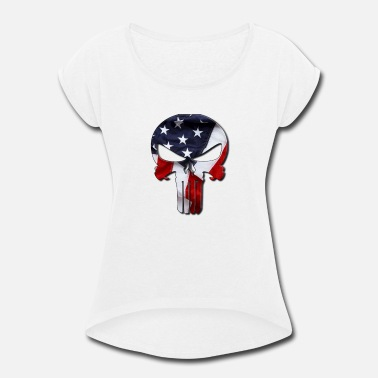 Qanon QANON SKULL PAIN WHITE STICKER - Women's Rolled Sleeve T-Shirt