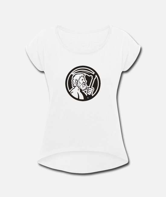 Pop Art T-Shirts - Cronus Holding Scythe Circle - Women's Rolled Sleeve T-Shirt white