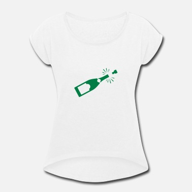 Beverage Champagne A Bottle Of Champagne - Women's Roll Cuff T-Shirt
