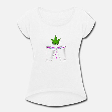 Hemp Lean (Codein) and Weed (Cannabis) - Women's Rolled Sleeve T-Shirt