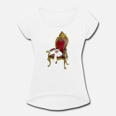 Thrones Cat on a throne - Women's Rolled Sleeve T-Shirt