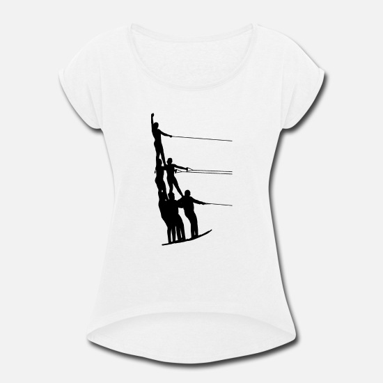 Water T-Shirts - Water Ski Water Sports - Women's Rolled Sleeve T-Shirt white