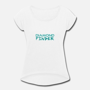 Finder Diamond Finder Text Logo - Women's Rolled Sleeve T-Shirt