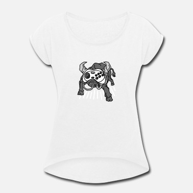 Ball Game Dogs Bull and Dog Game - Women's Roll Cuff T-Shirt
