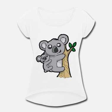 Eucalyptus Koala Mama and Baby eucalyptus - Women's Rolled Sleeve T-Shirt