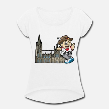 Rhine I LOVE COLOGNE Cathedral Germany Rhine Church - Women's Rolled Sleeve T-Shirt