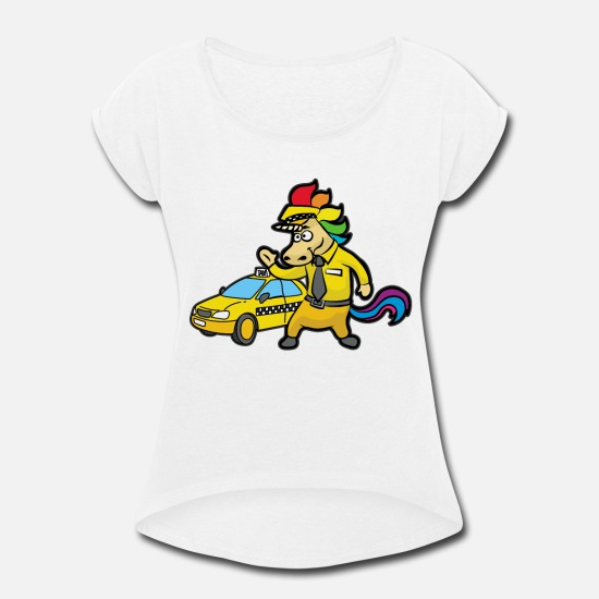 Cab T-Shirts - UNICORN TAXI DRIVER CAB DRIVING - Women's Rolled Sleeve T-Shirt white