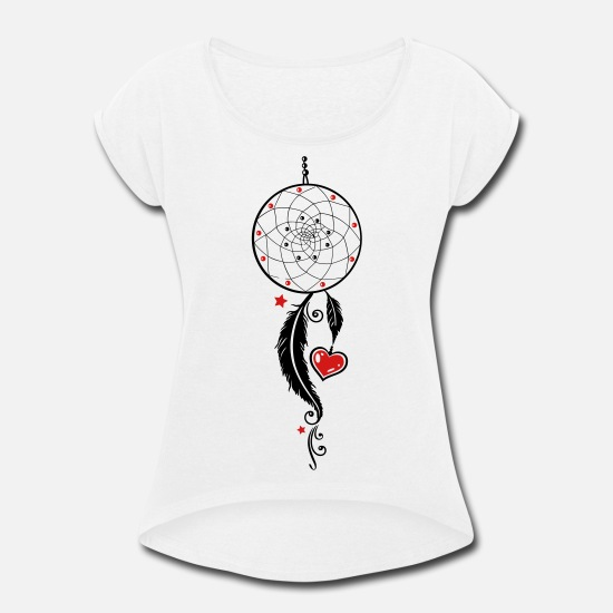 Dream Catcher T-Shirts - Dreamcatcher with heart and feathers, girlie style - Women's Rolled Sleeve T-Shirt white