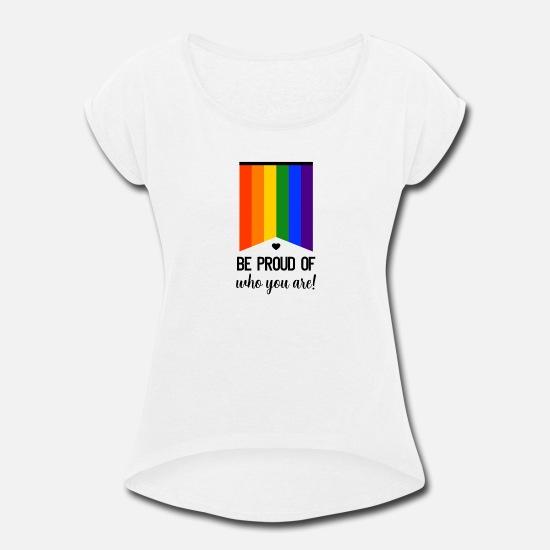 Free will LGBT Gay Lesbian Rainbow Woman White 3//4 Short Sleeve Cotton T Shirt
