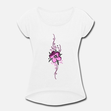 Hibiscus Ornament with colorful hibiscus flower, hibiscus - Women's Rolled Sleeve T-Shirt