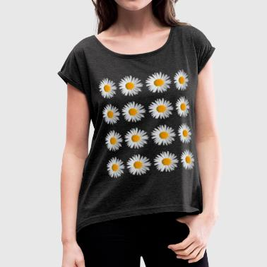 Daisy Flowers - Women's Roll Cuff T-Shirt