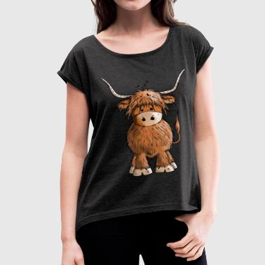 Cute Highland cattle - Cow - Cartoon - Gift - Women's Roll Cuff T-Shirt
