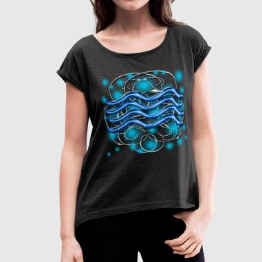Aquarius Astrological Sign [1] Persephone Prdctns - Women's Roll Cuff T-Shirt