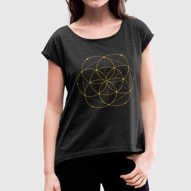 Golden Egg Of Life Sacred Geometry - Women's Roll Cuff T-Shirt