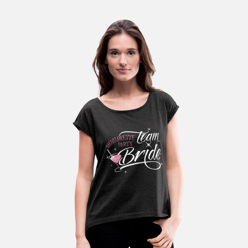 Bachelorette T-Shirts - bachelorette party team bride - Women's Rolled Sleeve T-Shirt heather black