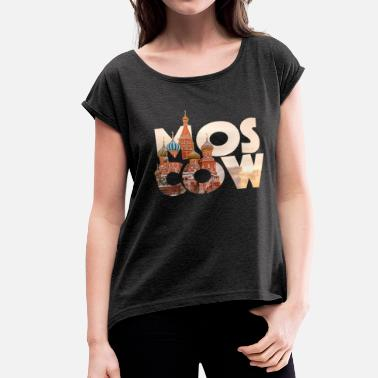 Especies Cities Russia Moscow Typography - Women's Roll Cuff T-Shirt