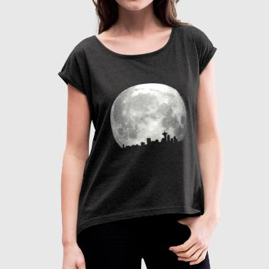 full moon skyline - Women's Roll Cuff T-Shirt