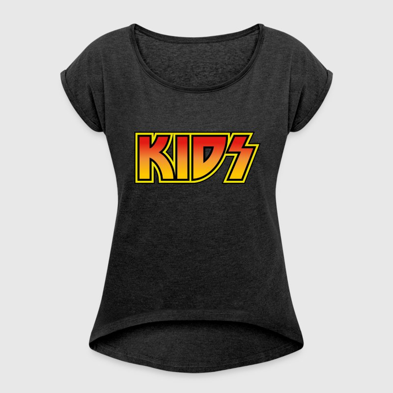 KIDS KISS vintage rock band design style - Women's Roll Cuff T-Shirt