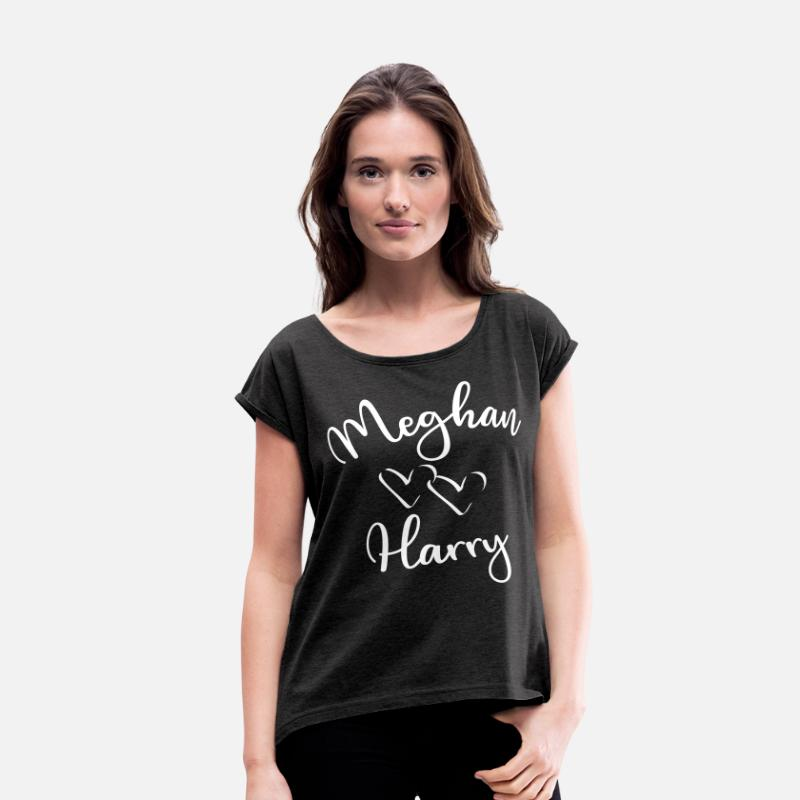 2018 T-Shirts - Meghan loves Harry two hearts royal wedding - Women's Rolled Sleeve T-Shirt heather black