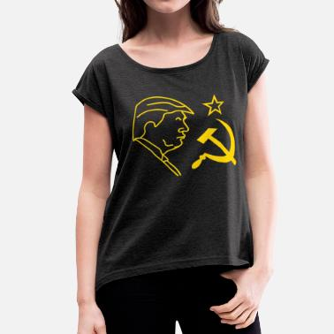 Donald Trump Russia Trump Russia Hammer and Sickle - Women's Roll Cuff T-Shirt