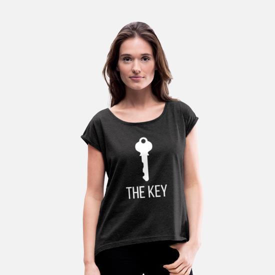 Wealth T-Shirts - THE KEY - Women's Rolled Sleeve T-Shirt heather black