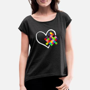 d8eca897 Autism Awareness Day Puzzle Autistic Mother Gift - Women's Rolled  Sleeve T