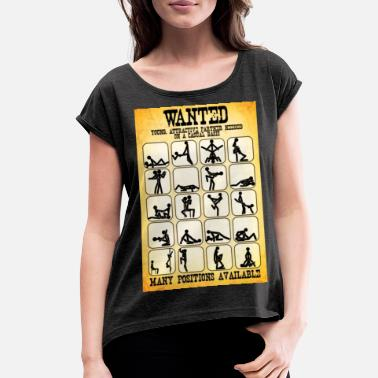 Cowboy Wanted Sex Poster - Women's Rolled Sleeve T-Shirt