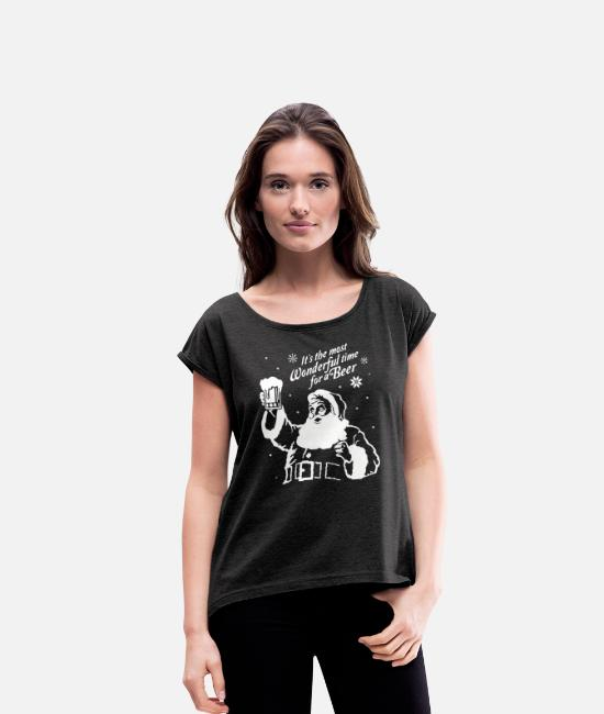 Christmas T-Shirts - The Most Wonderful Santa - Women's Rolled Sleeve T-Shirt heather black