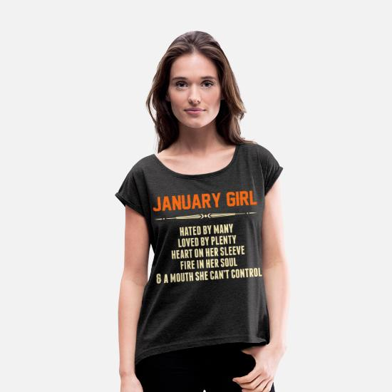 Aries T-Shirts - January Girl Hated By Many - Women's Rolled Sleeve T-Shirt heather black