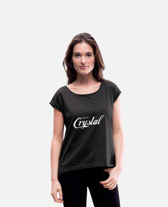 Call T-Shirts - enjoy CRYSTAL - Women's Rolled Sleeve T-Shirt heather black