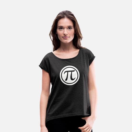 Pi T-Shirts - Everyday should be Pi Day - Women's Rolled Sleeve T-Shirt heather black