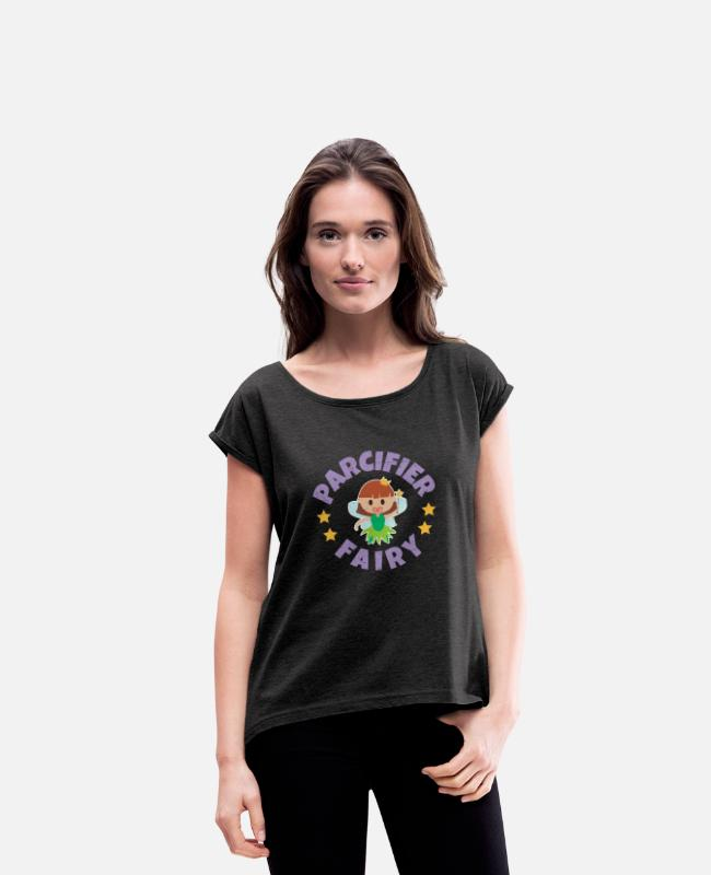 Fairy Tale Figure T-Shirts - Fairy Tale Pacifier Fairy Baby Funny gift Idea - Women's Rolled Sleeve T-Shirt heather black