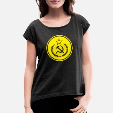Leninite Hammer and Sickle Badge - Women's Rolled Sleeve T-Shirt