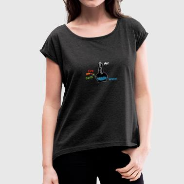 Smoking weed - the 4 elements - Women's Roll Cuff T-Shirt