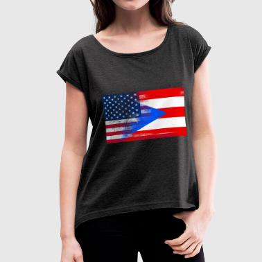 Puerto Rico American Flag Fusion - Women's Roll Cuff T-Shirt