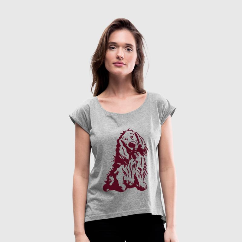 Cute English Cocker Spaniel Cartoon - Women's Roll Cuff T-Shirt