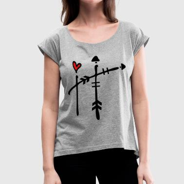 Letter H with arrow heart - Women's Roll Cuff T-Shirt
