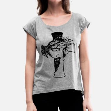 Jesus Nerd Jesus Cross - Women's Roll Cuff T-Shirt