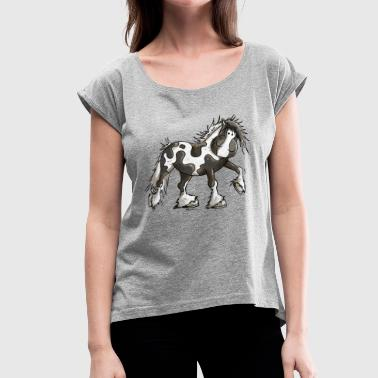 Happy Pinto Horse - Pintos - Tinker - Pony - Gift - Women's Roll Cuff T-Shirt
