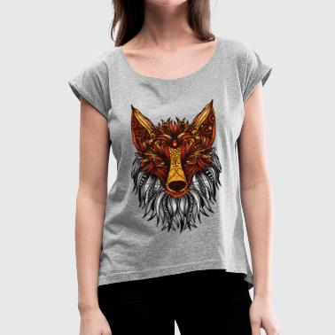 Fox Mandala - Women's Roll Cuff T-Shirt