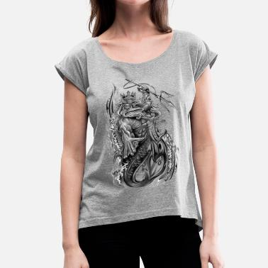 Black And White Collection poseidon - Women's Roll Cuff T-Shirt