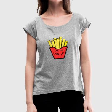 Fries Kids funny french fries kids children baby present - Women's Roll Cuff T-Shirt