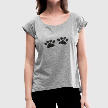 Footprint Two Two Black Paws - Dog Lovers - Women's Roll Cuff T-Shirt