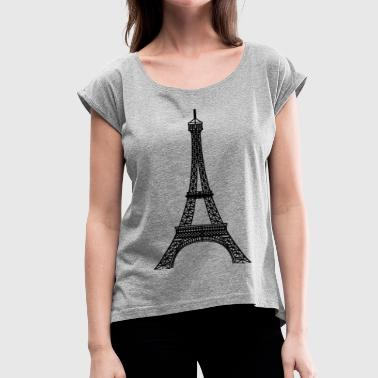 eiffel tower - Women's Roll Cuff T-Shirt