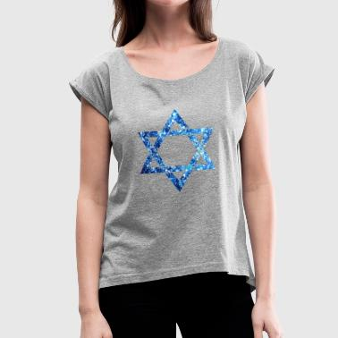 Magen David Star Of David Israel Magen David Jew Isreali Flag - Women's Roll Cuff T-Shirt