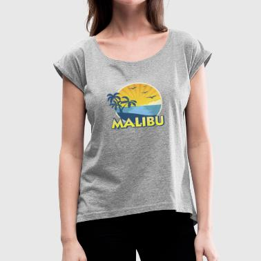 Zuma Beach Vintage Malibu Beach, California Surfing 70s - Women's Roll Cuff T-Shirt
