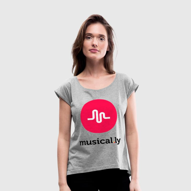 musically logo - Women's Roll Cuff T-Shirt
