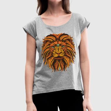Lion Mandala - Women's Roll Cuff T-Shirt